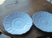2 X VINTAGE BLUE SAUCERS  WITH TEXTURED FLORAL RIMS EMPIRE 11 - 58